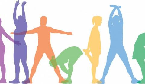colorful silhouettes stretching
