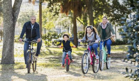 a family going on a bike ride