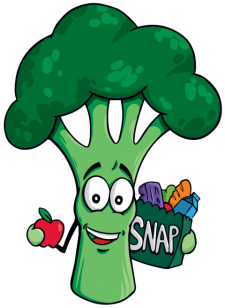 Broc character holding an apple and shopping bag