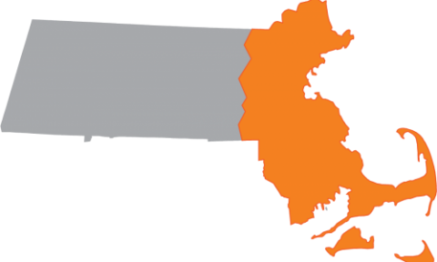 Map of MA with eastern highlighted