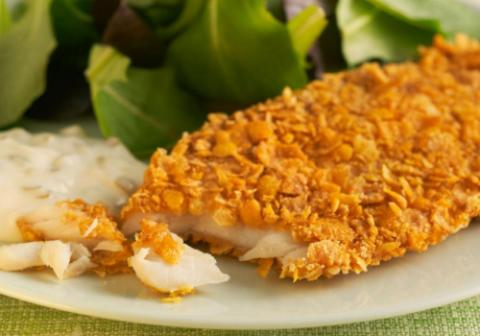 Baked Flaked Fish with Tartar Sauce