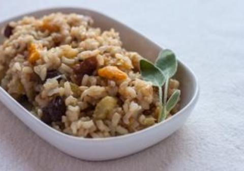 Brown rice pilaf with sage and walnuts