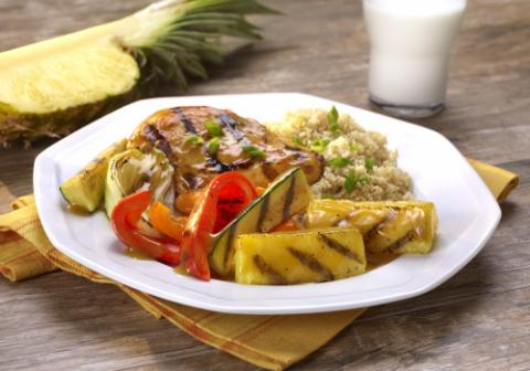 Grilled Pineapple Ginger Glazed Chicken with Zucchini and Peppers