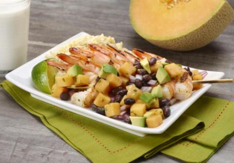 Grilled Shrimp with Cantaloupe Avocado Salsa