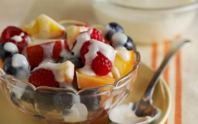 Fresh Fruit with Warm Honey Yogurt Topping